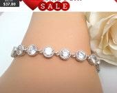 Wedding Bracelet,Gemstone,bridesmaid gifts,bridal wedding bracelet Clear white round cubic zirconia white gold bracelet