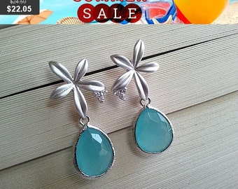 Iris with Ocean Blue Silver Studs Earrings - Cubic Zirconia Earrings,Drop, Dangle, Glass Earrings, bridesmaid gifts,Wedding jewelry