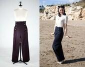 NAVY blue SAILOR PANTS, high waist, navy blue 1940's style swing pants