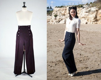 NAVY blue SAILOR PANTS, high waist, navy blue 1940's style swing pants