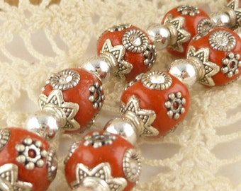 10mm Red Clay Inlay Indian Style Round Beads, Antiqued Silver Inlay (2)