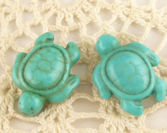 Patina-look Howlite Turquoise Turtle Beads (6) - T2