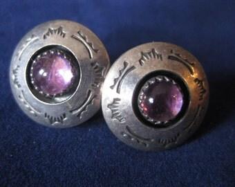 Handsome Vintage Southwest Tribal Mayan Aztec Amethyst Sterling Silver Stud Pierced Earrings