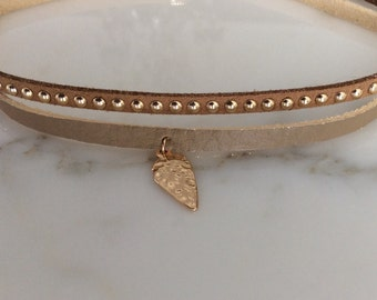 2 Leatherette Camel Choker with gold leaf charm, gold layered chokers, charm chokers, leather choker