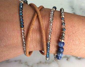Bohemian Blue Bead, Gold Bracelet Set with camel leather bracelet, Bohemian Style Bead Bracelets Set