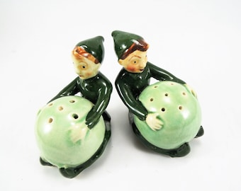 Vintage Salt & Pepper Shakers, Handpainted Pixes, Elves, Fairies, Wedding Cake Topper, Japan Kitchen Retro Salt Pepper Collection, Kitsch