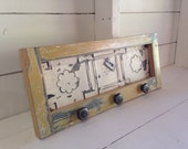Reclaimed Wood Framed Ceiling Tin Magnet Board and Jewelry Organizer