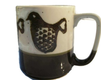 vintage mug with cute fat stylized birds in shiny brown and speckled grey glaze