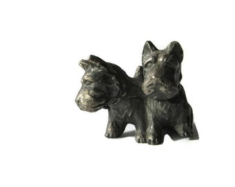 pewter figurine, Scottie dogs, Scotty dogs, pair of dogs, 1930's