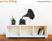 Back To School SALE Classy Vintage Victrola Silhouette- Wall Decal Custom Vinyl Art Stickers