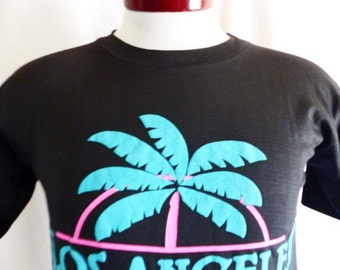 vintage 80's 90's Los Angeles California black crew neck graphic t-shirt pastel pink aqua green palm tree puffy print tourist travel Small
