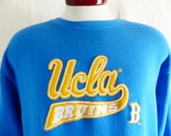 Go UCLA Bruins vintage 90's University of California Los Angeles light blue fleece graphic sweatshirt embroidered applique felt logo large