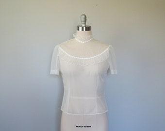 50s sheer nylon blouse size medium / vintage nylon blouse / vintage sheer blouse / 50s blouses