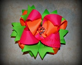 Neon Mix Boutique Style Bow / Layered / Bright / Summer / Hair Bow / Hairbow / Pink / Orange / Green / OTT / Over the Top