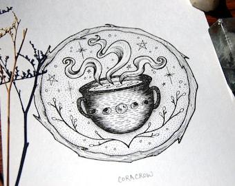 Cauldron - ORIGINAL or PRINTS, Tea, Design, Illustration, Fairytale, Witchy, Magic, Halloween Art, Ink, Tattoo art