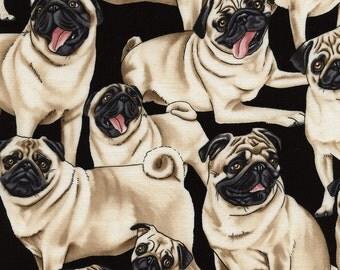 Fat Quarter Pug Pugs Dogs 100% Cotton Quilting Fabric Timeless Treasures C2488