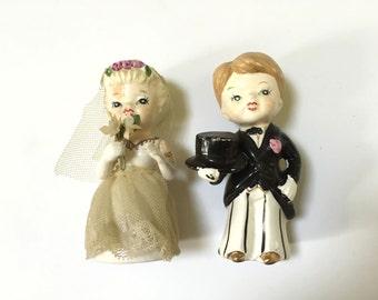 Vintage CERAMIC Bride Groom - Wedding Salt Pepper Shakers - Black White - Dan Brechner Co - Japan