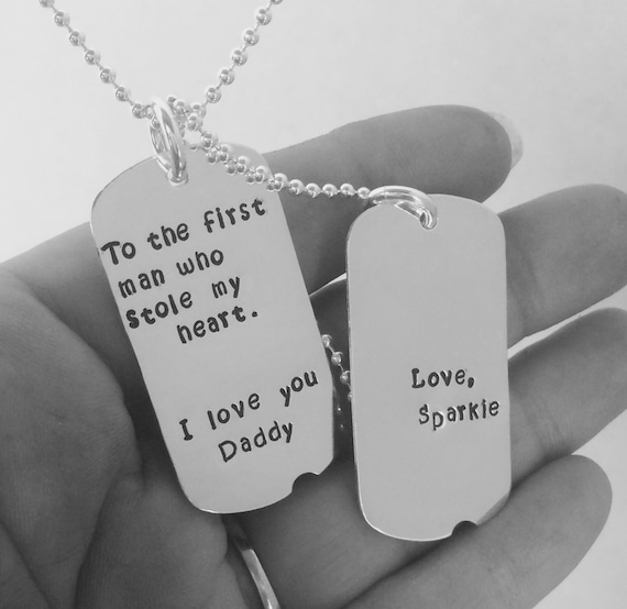 Sterling Silver Dog Tags, Personalized mens necklace, Fathers day gift, Custom Dad jewelry, Personalized dog tags, Double dog tags, mens