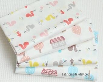 Soft Baby Cotton Fabric, Light Pink Blue Ice Age Cartoon Cotton, Kids Children Fabric- 1/2 Yard