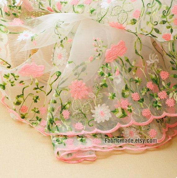 Flower organza lace fabric embroidered clear