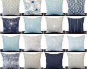 Pillow, Throw Pillow, Pillow Cover, Cushion, Decorative Pillow, Vintage Indigo Navy Blue White, Spa Blue, Cove