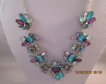 Multy Color Crystal Beads Pendant Necklace on a Silver Tone Chain