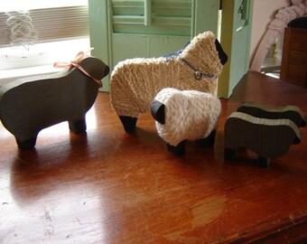 Vintage wood carved folk art sheep yarn wrapped set of 5 small and larger sheep set primitive folk art sheep