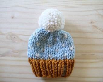 Fair Isle Knit Beanie // Chunky Knit Hat // Customizable // Slouchy Beanie // Pom Pom // Cozy // Newborn // Baby // Toddler // Child