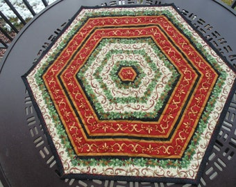 Red, Green and Gold Hexagonal Holiday Table Topper