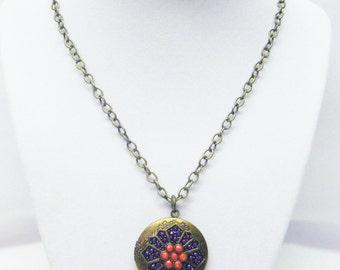 Round Antique Bronze Locket w/Purple/Pink Cabochon Pendant Necklace