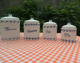 4 Jars spices white and blue hand-painted