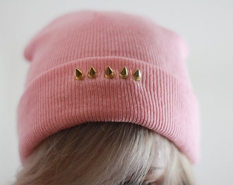 Beanie Pink Spiked Studded Folded Baby Pink Grunge Rock look Classy