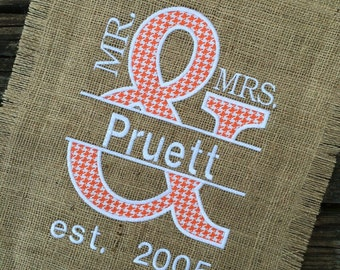 Burlap Yard Decor - Custom Burlap Yard Flags - Burlap Yard Flags - Burlap Flags - Monogrammed Yard Flags - Mr. & Mrs. Yard Flags