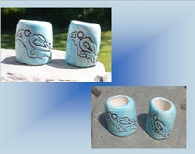 2 Large Hole Dreadlock Beads, Celtic Raven Dread Beads, Turquoise Hair Accessories, Odin's Raven Beads,  Macrame Beads, Ceramic Pottery