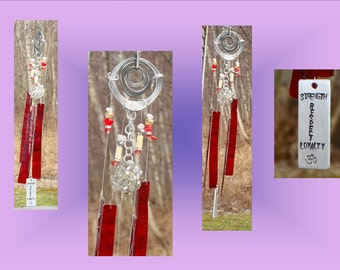 Red Glass Wind Chime Stained Glass Metal Garden Decor Window Suncatcher Patio Mobile Hanging Decor