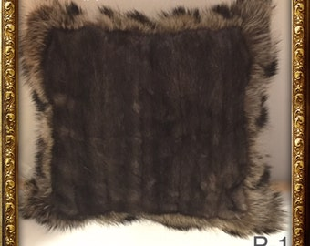 P-146 Genuine Dark Gray Mink & Gray Raccoon Fur Pillow 16 x 16