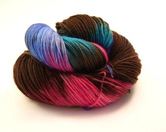 Yarn - Hand painted Sock yarn Merino - Sock Yarn Fingering -  Pink, brown , blue, turquoise, lilac - knitting shawl - hand dyed yarn - OOAK