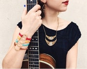 Recycled Guitar String-Eternity Bracelet made with Soft Deerskin Leather- Unisex- Guitar String Jewelry, Support New Orleans Musicians!