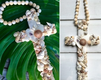 Blessing Beads Cross/Rosary Style Beaded Seashell Cross/Beach House Decor/Beach Wedding Cross/Boho Style Beach Art