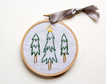 Tiny Forest Christmas Embroidery, Christmas Tree Decor, Christmas Ornament, Holiday, Hoop Art, Hand-stitched, Woodland rustic, Folk