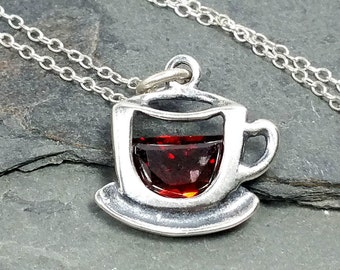 Coffee Cup Necklace - 925 Sterling Silver - Red CZ Cappuccino Barrista Charm NEW