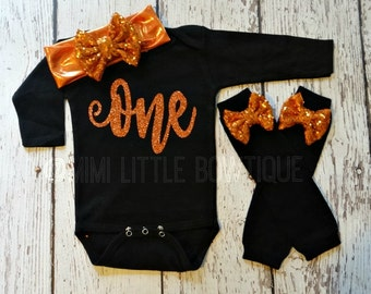 Halloween- First birthday outfit with orange glitter lettering - 1st Birthday Outfit- Baby Girl Clothing-Party outfit- one birthday