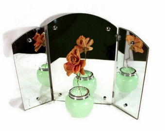 Antique Vanity Mirror - Tri Fold Mirror - Dressing Table Makeup Mirror - 1920s Bedroom - Wall Hanging or Freestanding Mirror