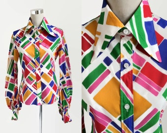 Vintage 1970's Blouse - 70's Blouse - St Michael - Dagger Collar - Bishop Sleeves - Retro 70's Fashion