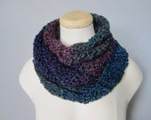 Crochet Ombre Blue, Purple, Turquoise, Indigo, Cranberry, Merlot, Teal Infinity Scarf, Women's, Men's Scarf, Unisex Scarf