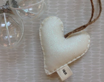 White sparkle glittery heart, personalised Christmas decoration