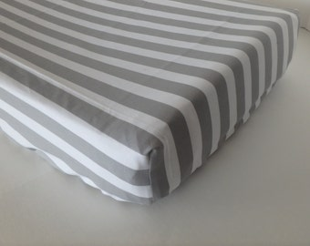 Gray Stripe Changing Pad Cover