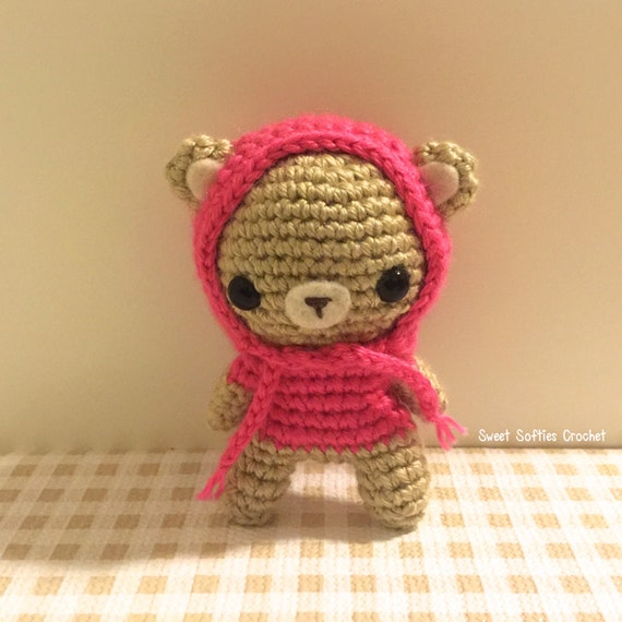 Hooded Teddy Bear Cub Amigurumi Crochet Pattern Hoodie by ...