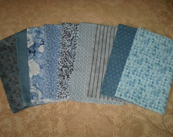 9 Cotton Fat Quarters in Shades of Blue