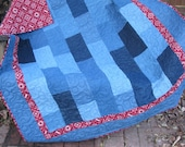 Denim and Bandana Western Lap Quilt - Quilted Throw - Custom order for Sarah